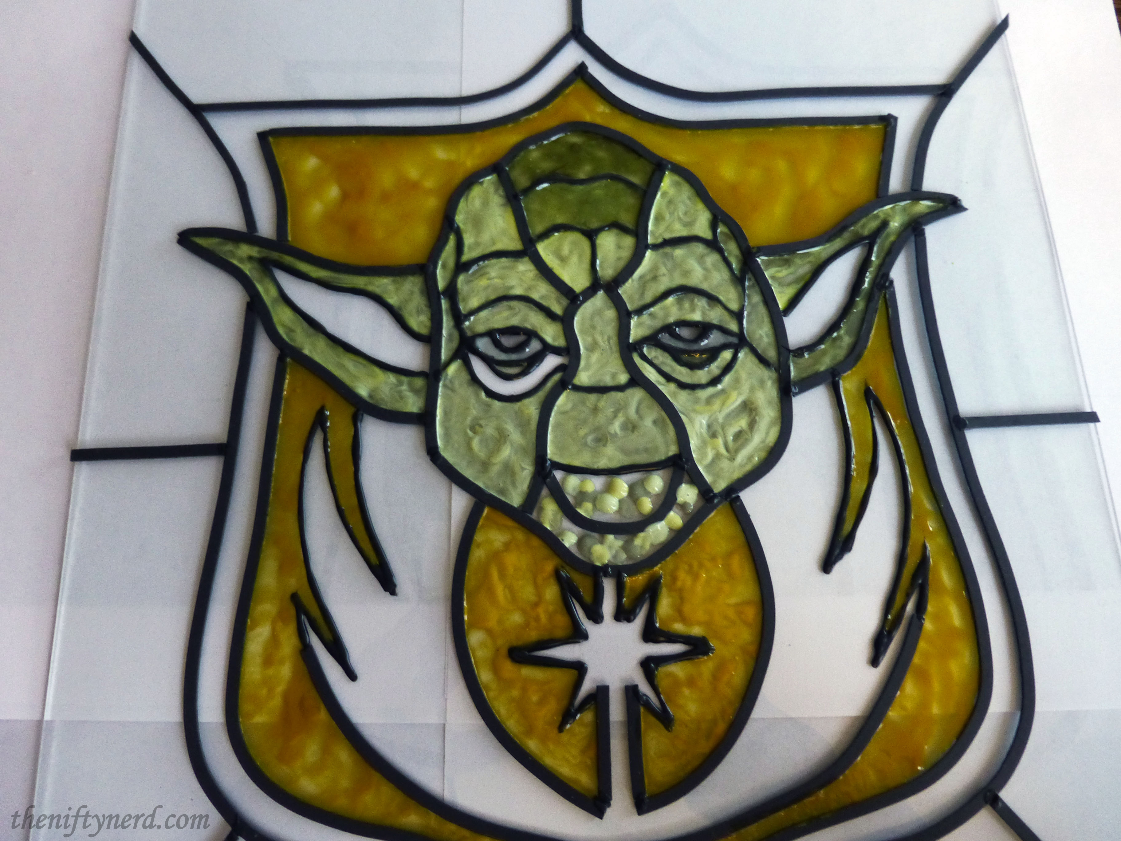 adding stained glass paint to Yoda