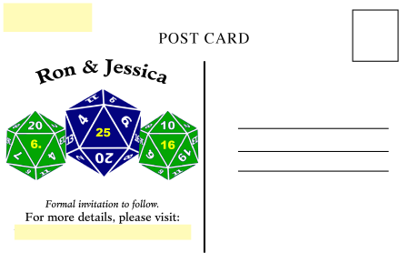D20 save the date postcard