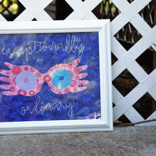 """""""exceptionally ordinary"""" Luna glasses wall banner"""
