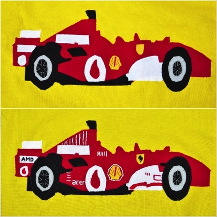 handsewing a Ferrari car