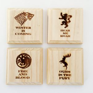 Game of Thrones wooden coasters with house sigils