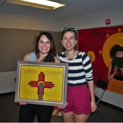 Me delivering a surprise art project to my friend Angela at her pop-up bookstore. The logo is the New Mexico flag (she's from NM) with the resistance fist, which she uses in her logo.