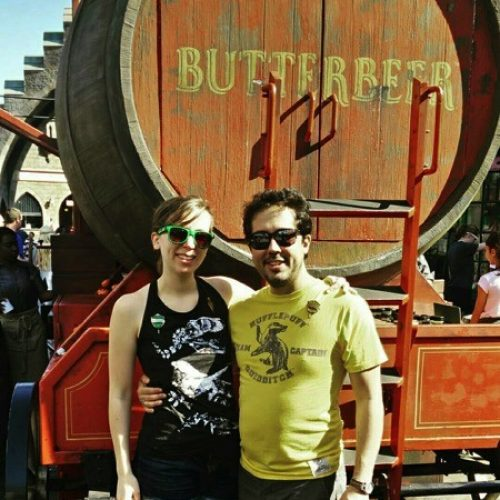 Me and my boyfriend Michael at Harry Potter World. He's a Hufflepuff and I'm a Slytherin but we make it work ☺
