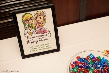 Legend of Zelda wedding game table sign