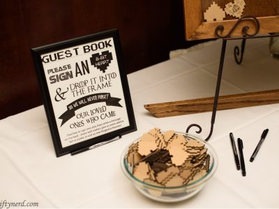 Geeky wedding guestbook instructions