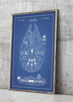 Millenium Flacon blueprint poster
