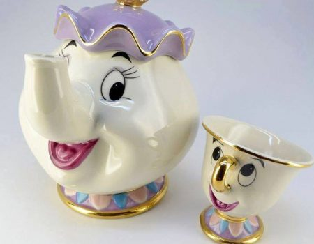 Mrs. Potts tea pot and Chip tea cup set