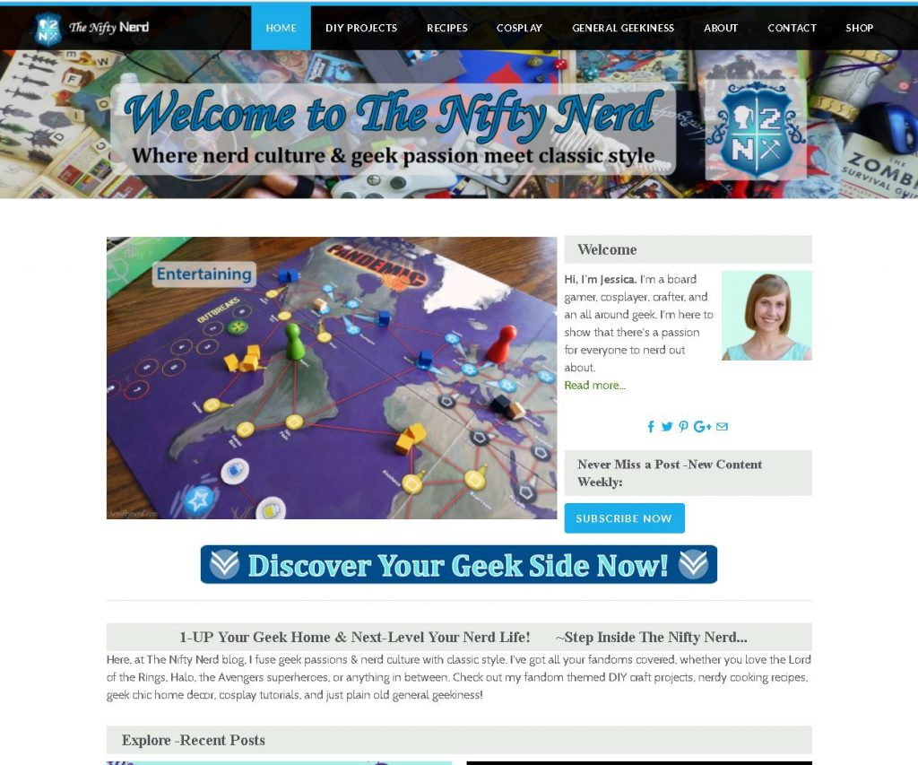The Nifty Nerd before its website redesign