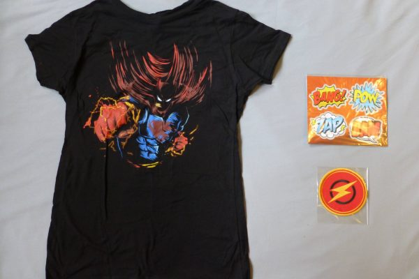 1Up Box DC superhero shirt, patch, and comic magnets