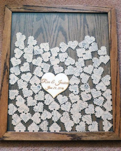 8-bit heart shadowbox guest book