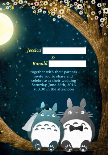 Totoro wedding invitation