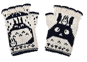 fingerless wool Totoro gloves