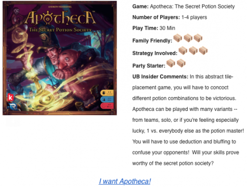 Apothica board game description