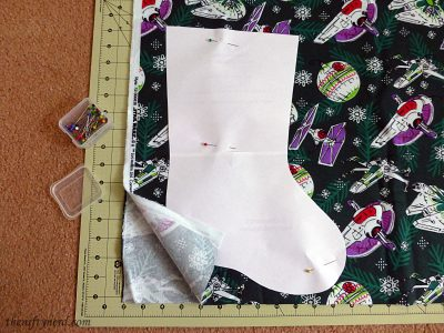 paper template for geeky Christmas stocking
