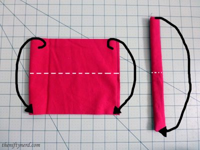 Folding the stocking cuff and hanger