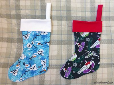 Frozen Olaf and Star Wars Christmas ornament stockings