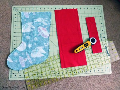 fabric pieces for sewing a stocking