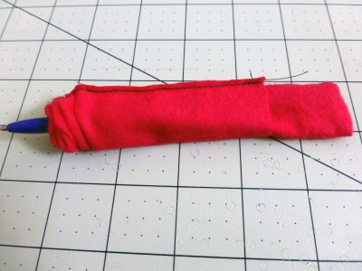 inverting the sewn hanger strip