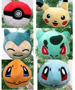 Pokemon plush Christmas ornament set