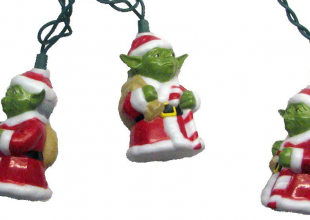 Santa Yoda string lights