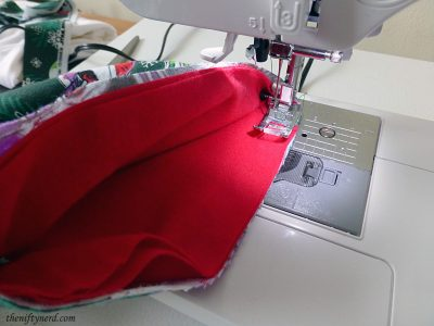 sewing the stocking cuff