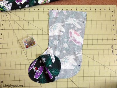 sewing a nerdy Christmas stocking