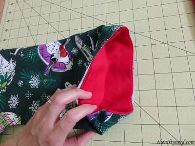 stocking cuff before being sewn and flipped out
