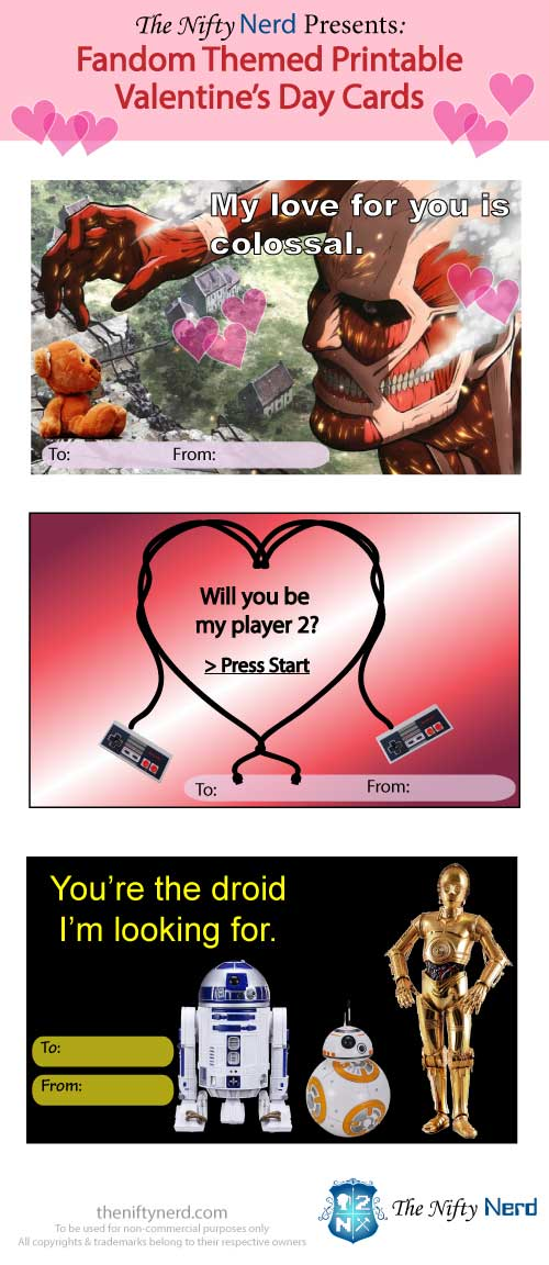 Fandom themed Valentine's Day Cards