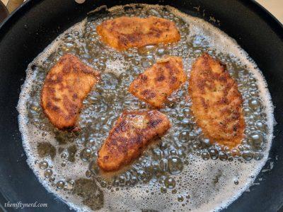 Golden brown fried halibut