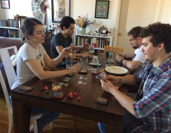 Dragons, Sexy Robots and Adventures: A Nerd Manual podcast team members doing a Magic the Gathering draft