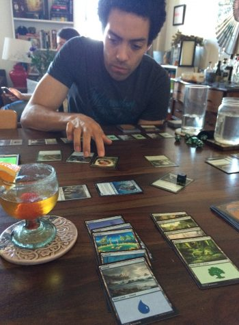 James playing Magic the Gathering