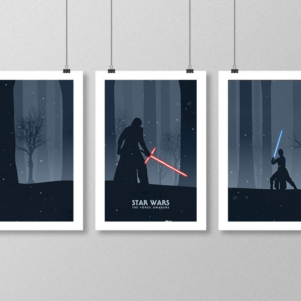 Star Wars: The Force Awakens Rey and Kylo print