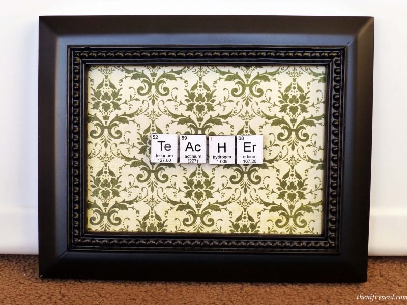 'teacher' sign made from periodic table symbols