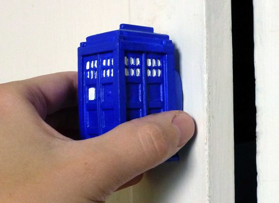 opening kitchen cabinet with TARDIS door knob
