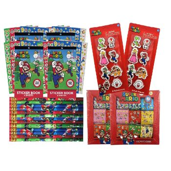 Mario pencils, erasers, and sticker kit