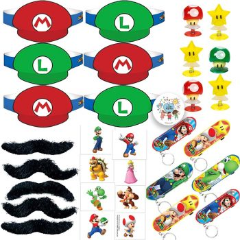 Mario party favors of tattoos, skateboard keychains, mustaches, and more
