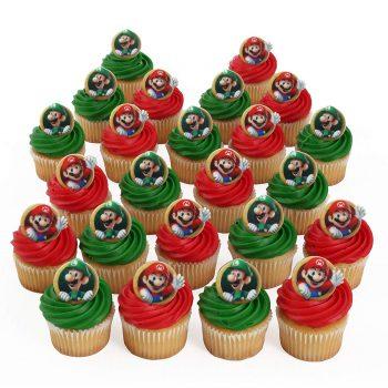 Mario and Luigi cupcake topper rings