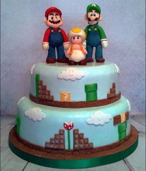 Mario Bros. tiered cake via The Cake Ninja