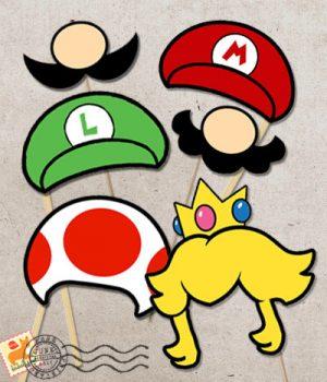 Mario photo booth props via bablisme
