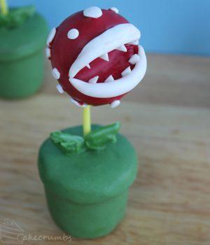 Piranha plant cake pops via cake crumbs