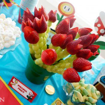 piranha plant fruit skewers via Dolled Up Designs