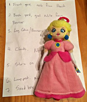 Save Princess Peach scavenger hunt via Joy in the Works