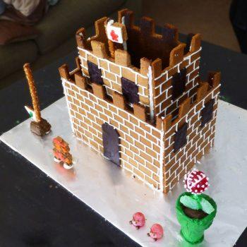 Super Mario castle gingerbread house