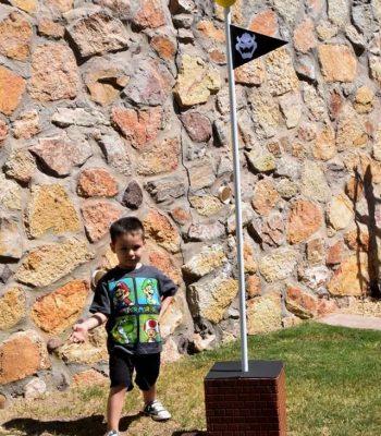Bowser Castle flag pole decor